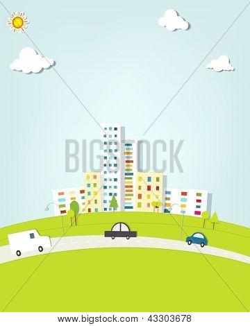 paisagem urbana com carros