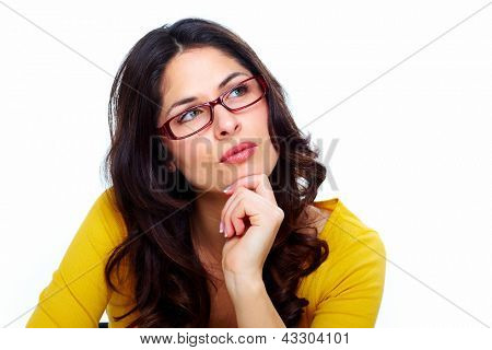 Beautiful young woman wearing glasses. Isolated on white.