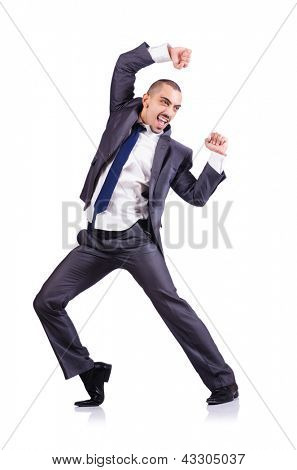 Dancing businessman isolated on white