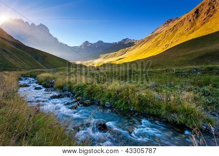 Beautiful view of mountain river in summer. Juta village - foot of Mt Chaukhebi. Georgia, Europe. Caucasus mountains. Beauty world.