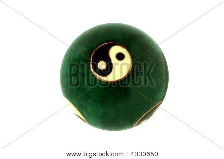 Green Ball With Symbols Yang And Yin