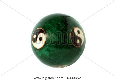 Green Ball With Symbols Yang And Yin