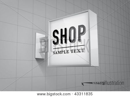 Blank, square shop sign hanging on a wall