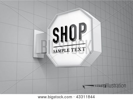 Blank, octagon shop sign hanging on a wall
