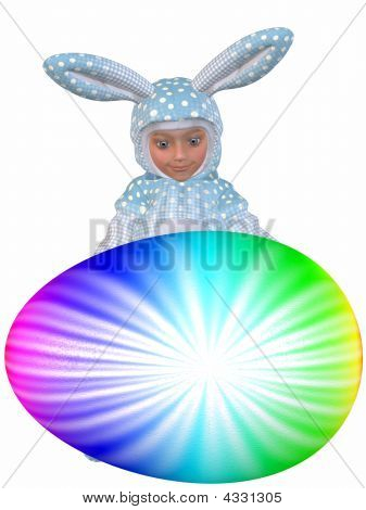 Cute Easter Bunny With Egg
