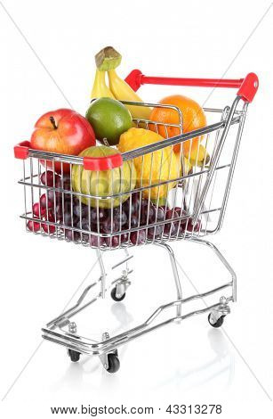Different fruits in trolley isolated on white