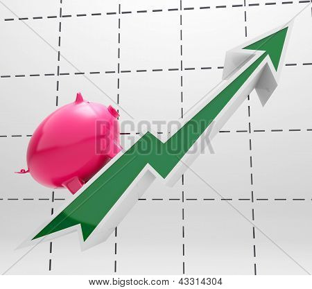 Climbing Piggy Shows Savings And Business Growth