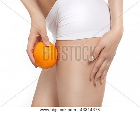 attractive young caucasian woman isolated  on white background studio shot figure body orange