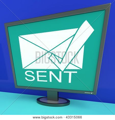 Sent Envelope On Monitor Shows Outbox