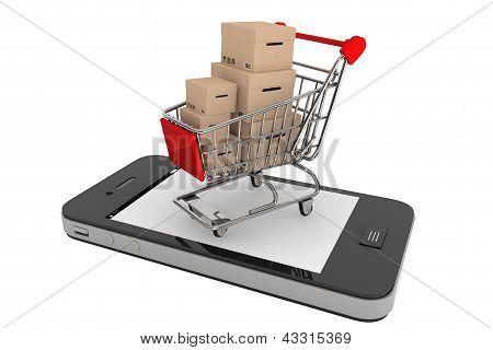 Smartphone y un carrito de compras con cajas