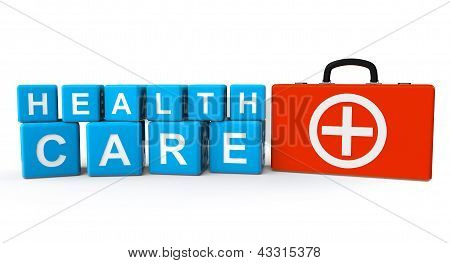 Cubes With Health Care Sign And First Aid Case