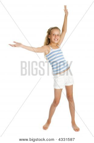 Pretty Teenager Girl With Hands Up