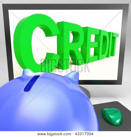 Credit On Monitor Showing Money Loan