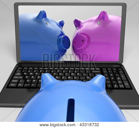 Piggybanks On Notebook Showing Online Transactions