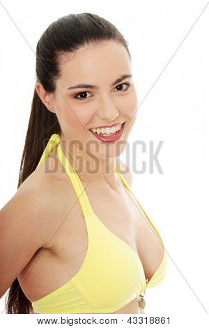 Beautiful young caucasian woman in bikini , isolated on white background