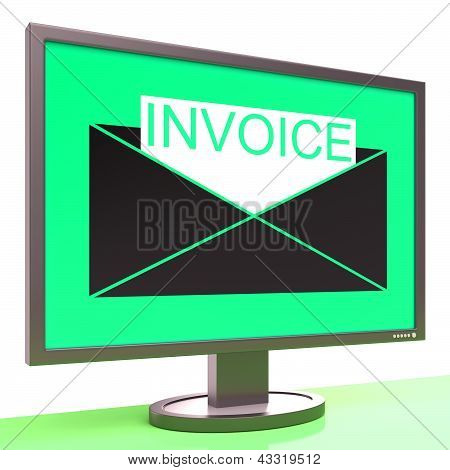 Invoice In Envelope On Monitor Shows Receipts