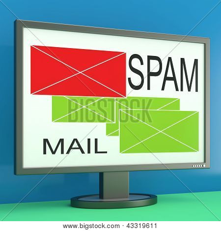 Spam And Mail Envelopes On Monitor Shows Online Security