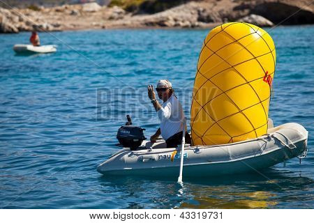 SARONIC GULF, GREECE - SEPTEMBER 27: Unidentified sailor participates in sailing regatta