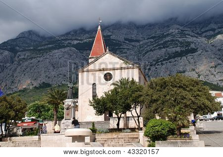 MAKARSKA, CROATIA - APRIL 17: The Church of St.Mark on April 17, 2008 at Makarska, Croatia. Built in 1776, the church stands at the foot of the Biokovo mountain range.
