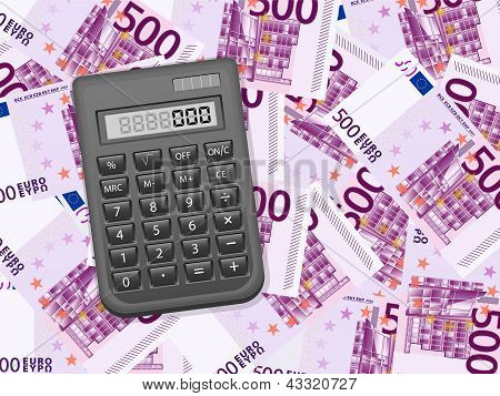 Calculator On Five Hundred Euro Background