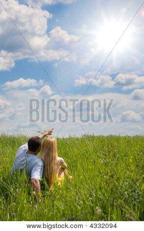 Attractive Couple Together On Meadow