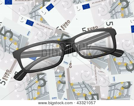 Reading Glasses On Five Euro Background