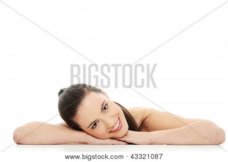 Portrait of the attractive girl without a make-up, isolated on white background