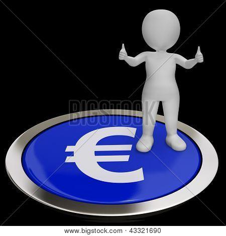 Euro símbolo botão mostra o dinheiro e investimentos