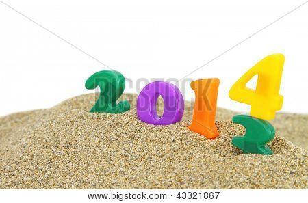 Multicolorido-ano novo 2014 na areia