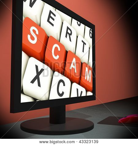 Scam On Monitor Showing Schemes