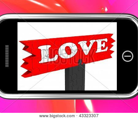 Love On Smartphone Shows Romance