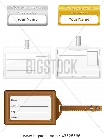 Identification Card Set Icons Vector Illustration