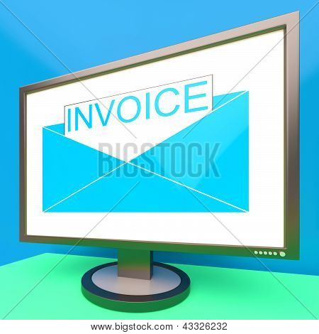 Invoice In Envelope On Monitor Showing Due Payments
