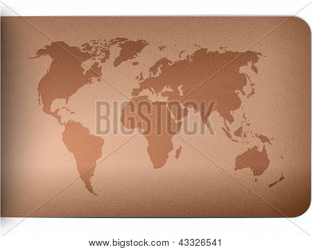 World Map On Leather Texture Background