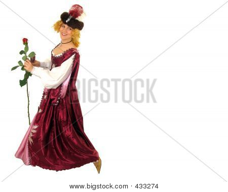 Woman In Polish Clothes With Rose