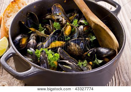 mussels stew in white wine