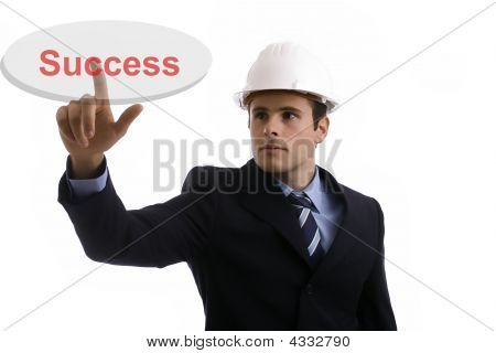 Engineer Pressing The Success Key