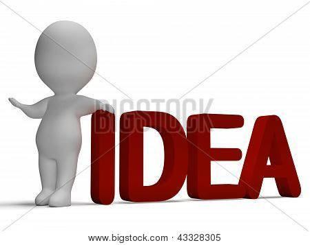 Idea Word And 3D Man Showing Thinking And Invention