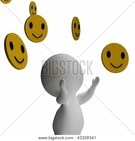 Smileys Smiling And 3D Character Showing Happiness