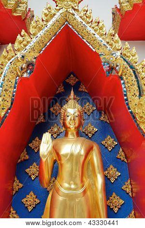 Golden Buddha Image In Standing Version