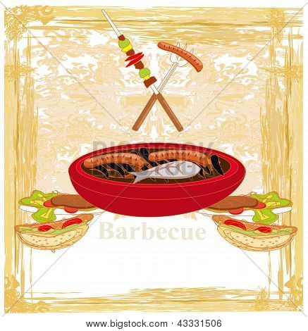 Barbecue Party Invitation with copy space , vector illustration