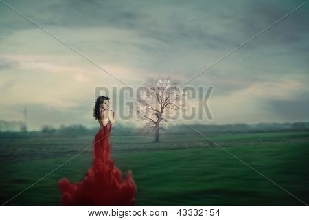beautiful young woman in  fantasy red  dress on green  field photo compilation, grain added