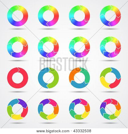 Set of color circle arrows