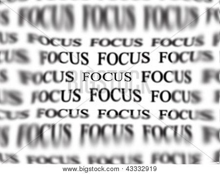 El foco de la palabra con palabras borrosas en fondo aislado en blanco como concepto de ideas de negocio