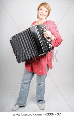 Woman Play In The Accordion