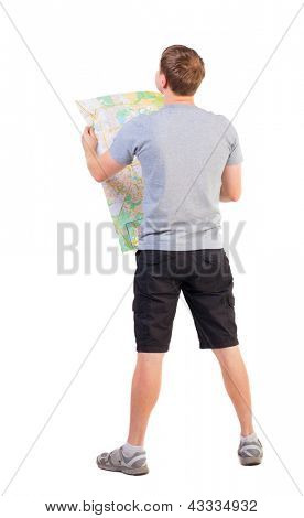 Back view  man looking at the map. travelers man in shorts consider recreation. Rear view people collection.  backside view of person. man in outdoor activities. Isolated over white background.