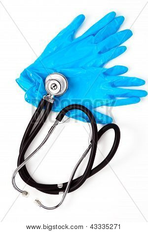 Medical Gloves And Stethoscope