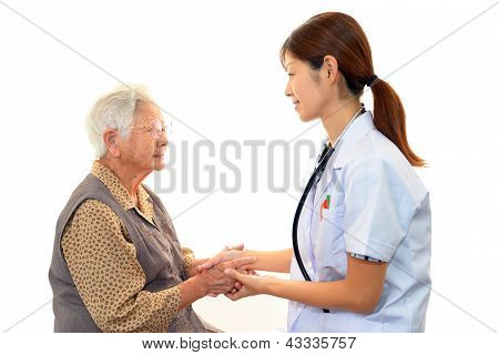 Doctor and an elderly woman