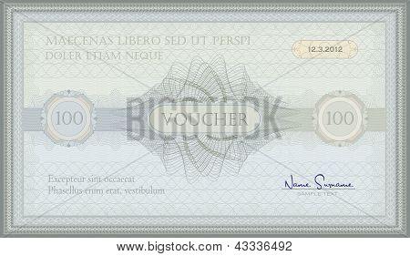 vector voucher green blue guilloche certificate