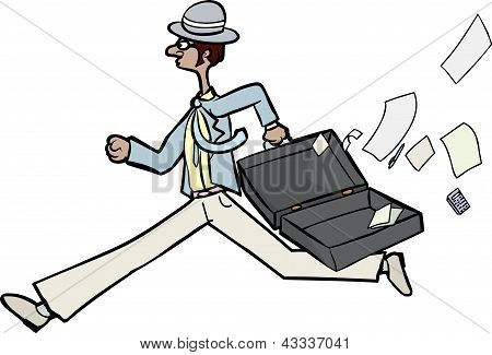 Businessman Losing Papers